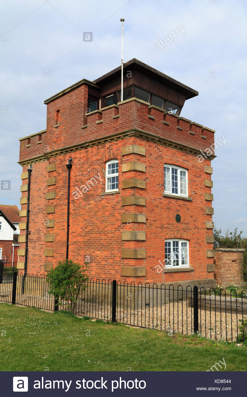 Former coastguard lookout tower and Marconi wartime listening post, on coastal clifftop Hunstanton Norfolk - Stock Image