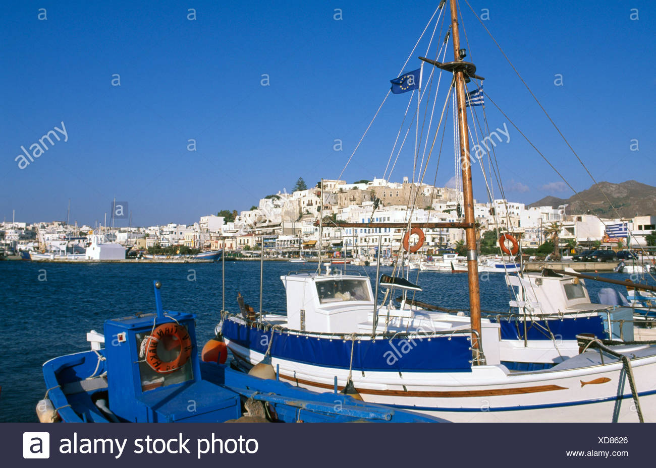 Harbour, Naxos, Naxos Island, Cyclades Islands, Greece, Europe - Stock Image