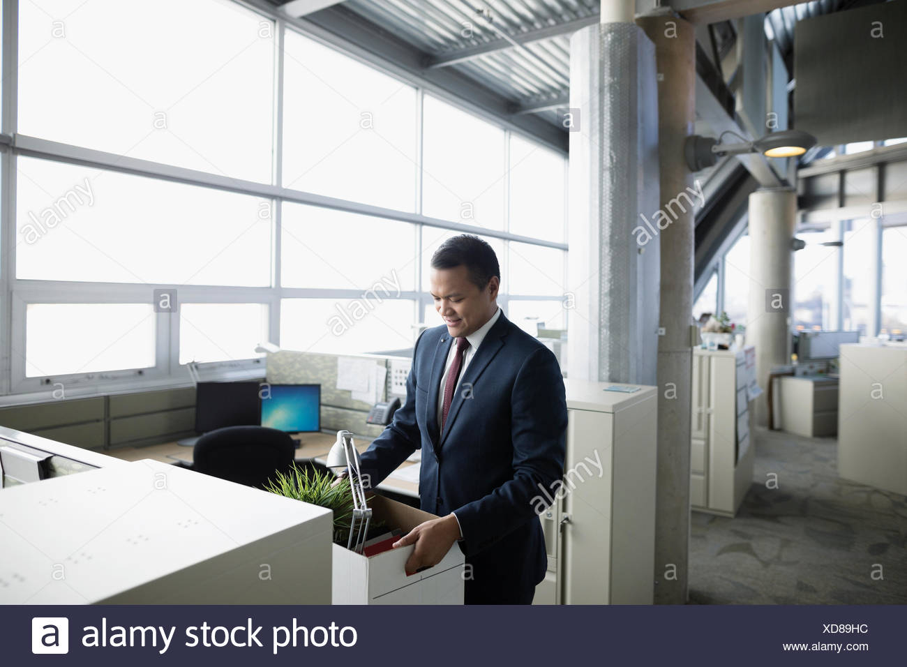 Businessman being laid off,holding box of belongings at office cubicle - Stock Image