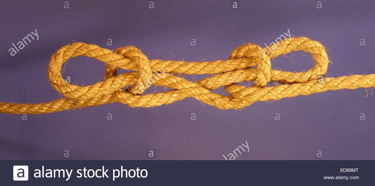 seafaring dew leash burled rope knot trompetenknoten trompetenstich - Stock Image