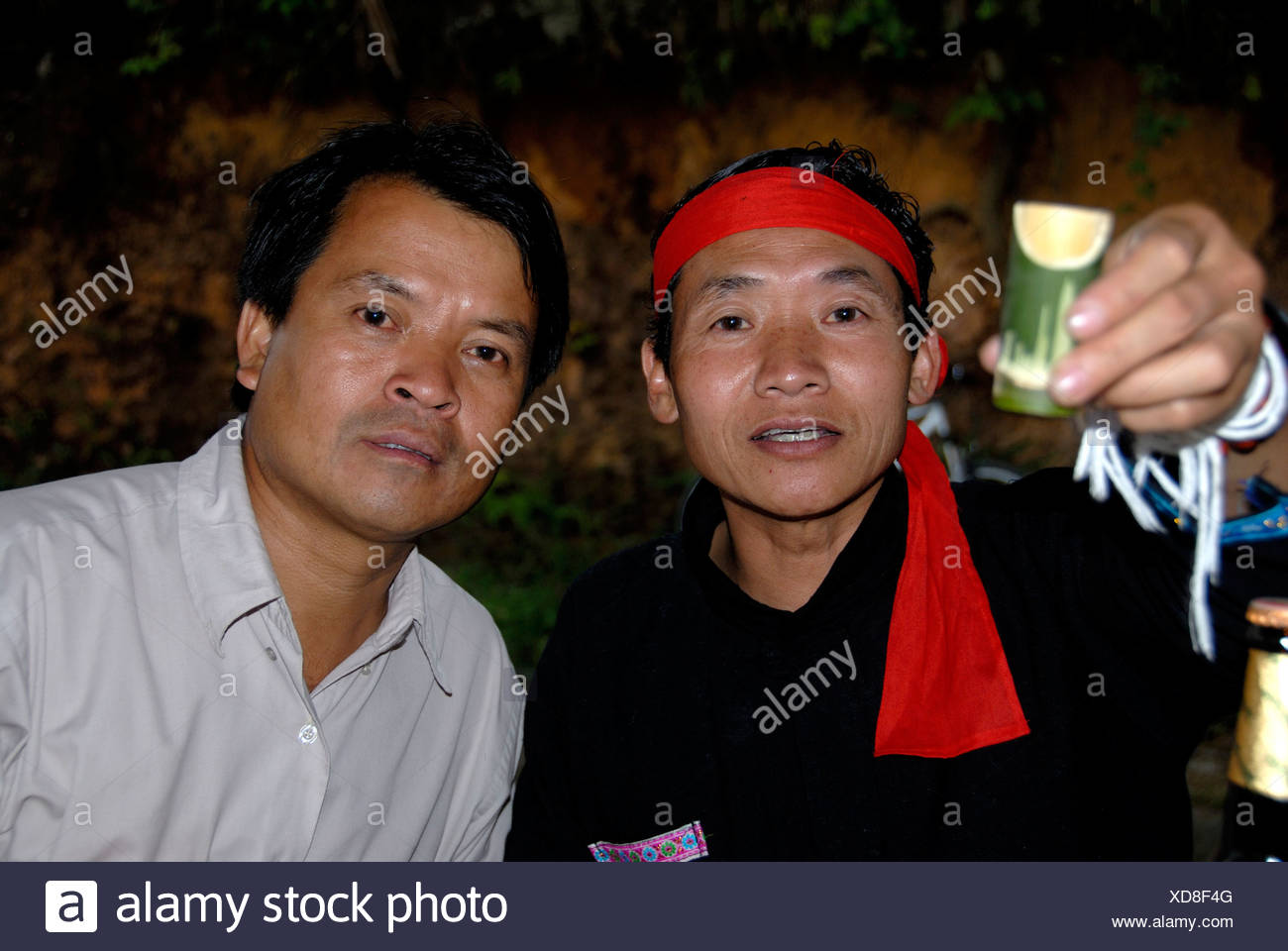 Cheers, men of the Phunoi ethnicity clinking glasses with Lao Lao, Laotian rice wine in bamboo vessels, Phongsali, Laos, Southe - Stock Image