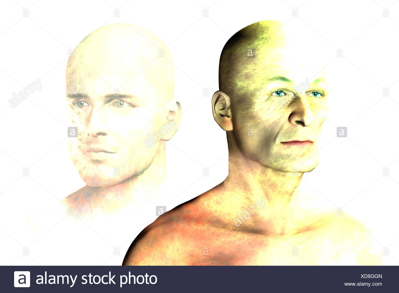Illustration of an elderly man remembering his younger self. - Stock Image