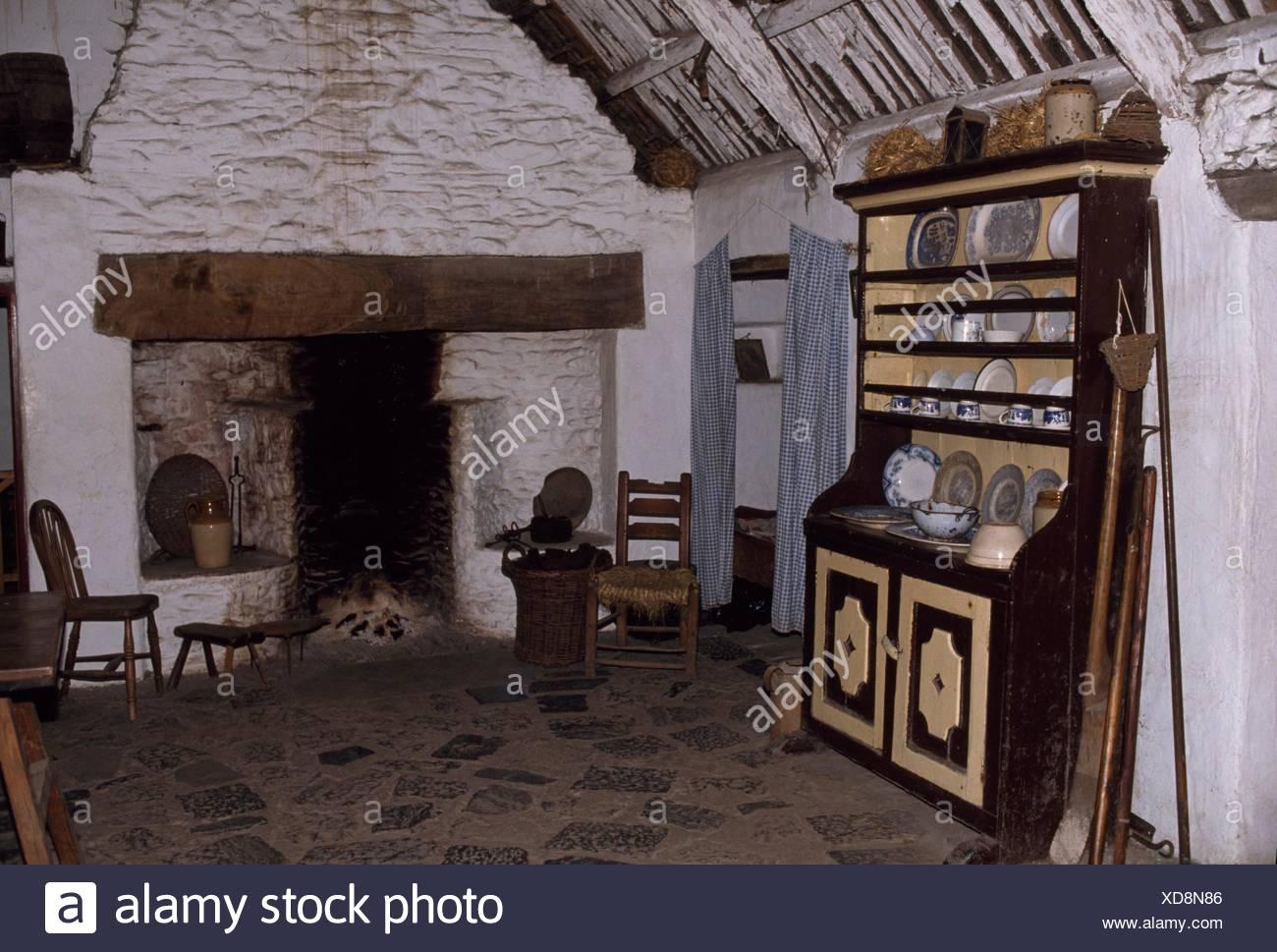 Bunratty Folk Park, Co Clare, Ireland; Interior Of A Home At A Folk Park - Stock Image
