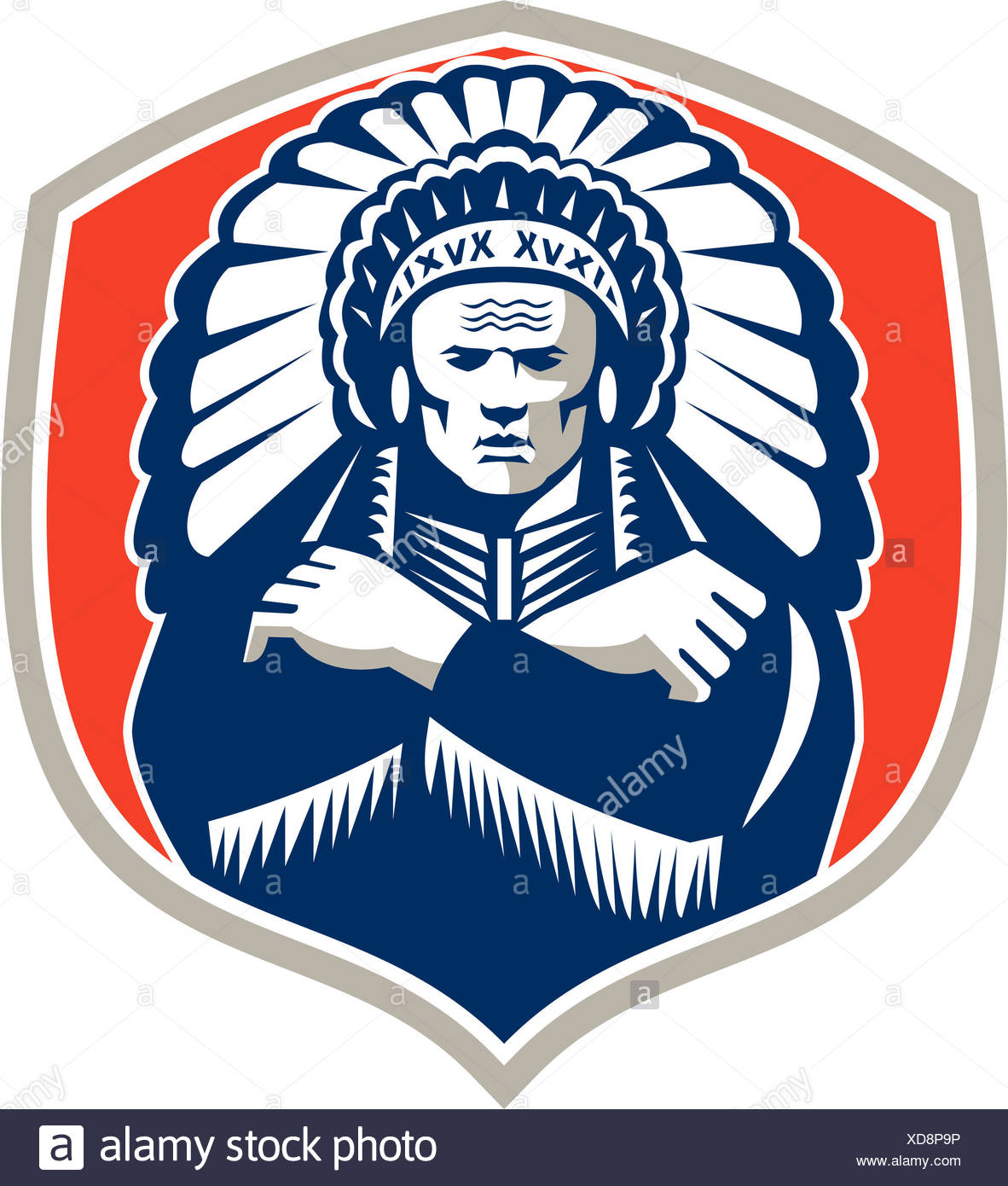 Illustration of a native american indian chief warrior wearing feathers headdress viewed from front set inside shield done in retro style on isolated background. - Stock Image