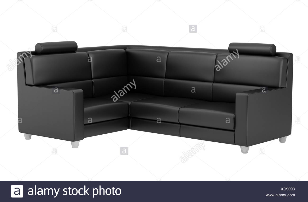 modern black leather couch isolated on white Stock Photo ...