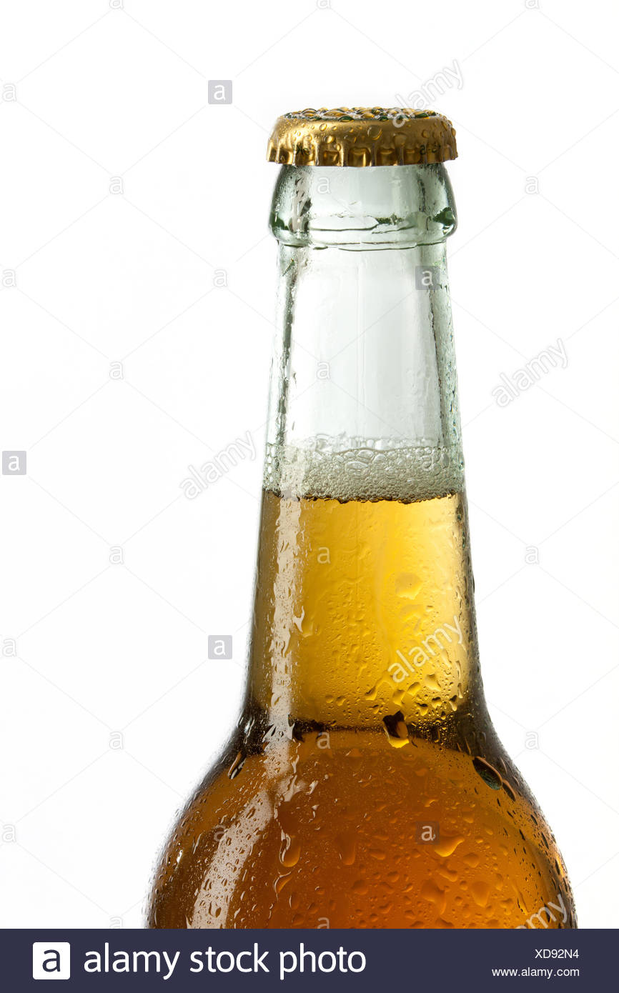 Beer in a bottle with crown cork - Stock Image