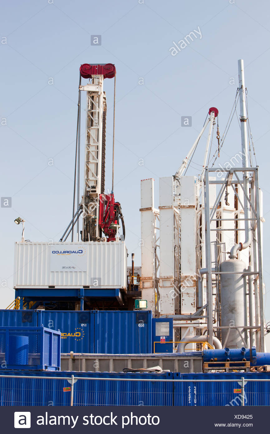 A test drilling site for shale gas near Banks on the outskirts of Southport, Lancashire, UK. - Stock Image