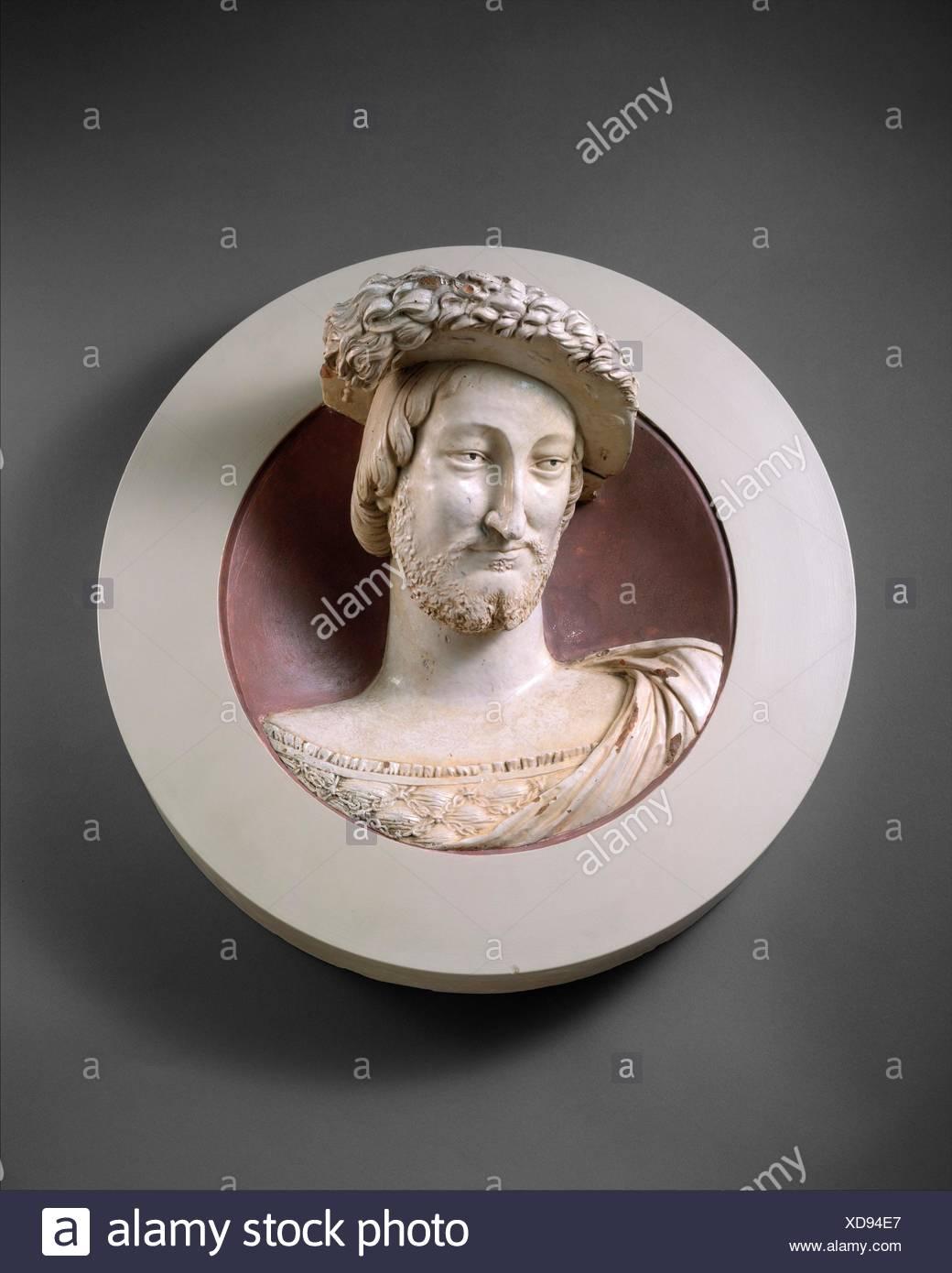 François I (1494-1547), King of France. Maker: Girolamo della Robbia (Italian, 1488-1566) , or; Maker: Luca della Robbia (Young Luca) (Italian, - Stock Image