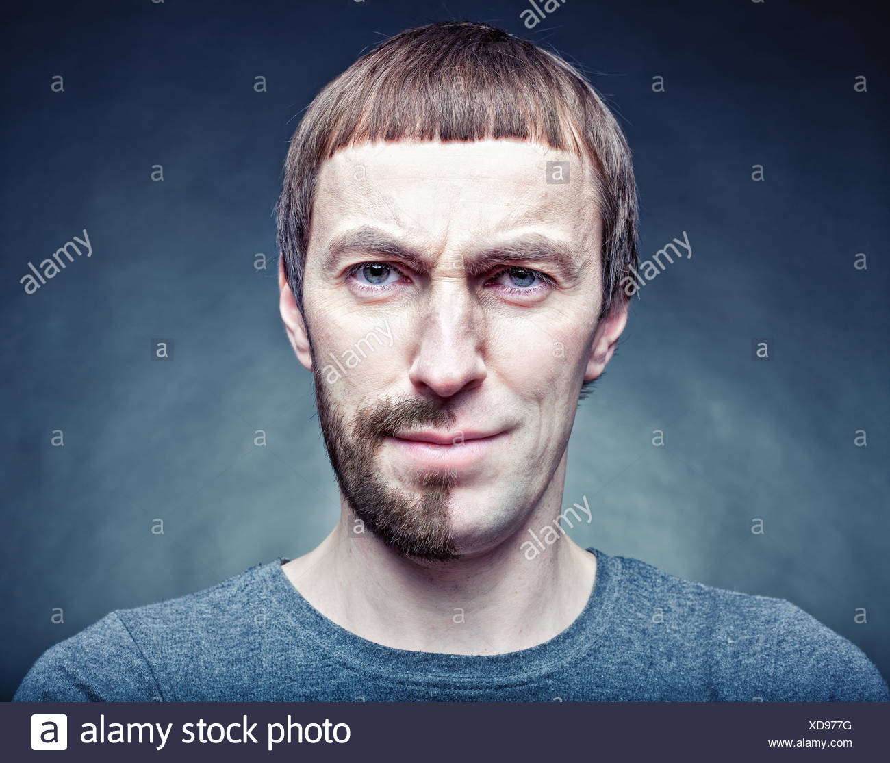 half stage shaving the face. photo concept - Stock Image