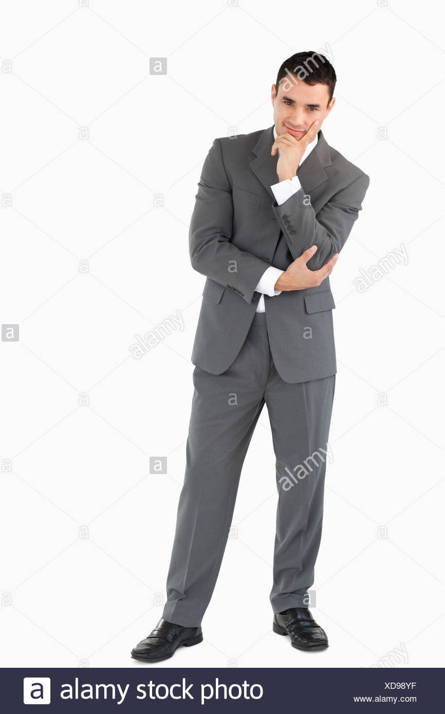 Businessman thinking about something - Stock Image