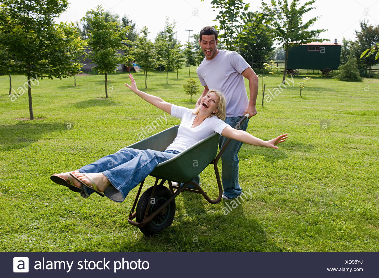 A couple messing around - Stock Image