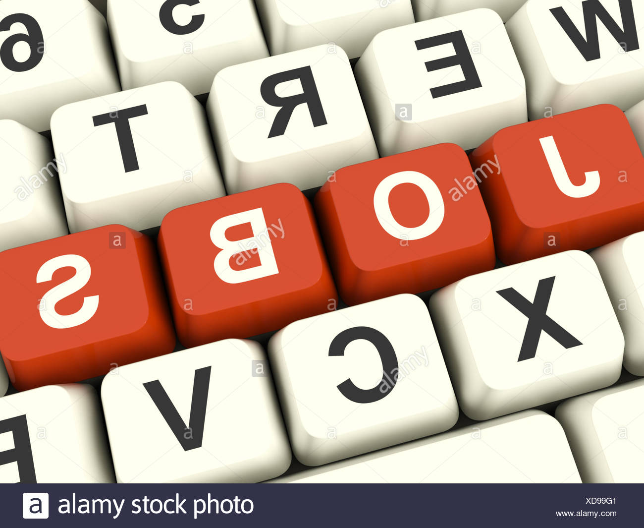 Jobs Red Computer Keys Showing Work And Careers - Stock Image