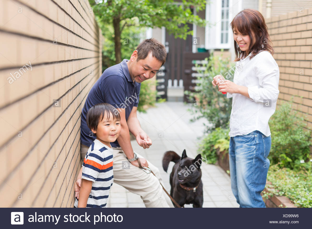 Parents with son and pet dog Stock Photo
