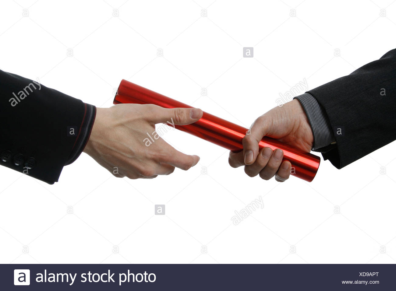 Businessman passing baton close up - Stock Image