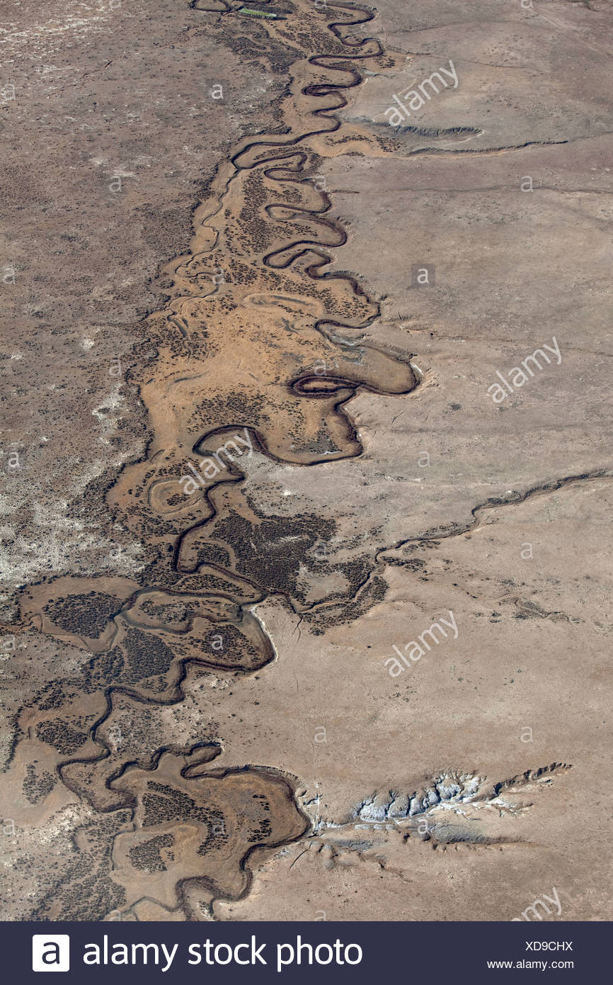 Aerial view of the South Platte River meandering in a valley. Stock Photo