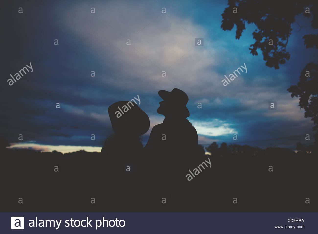 Couple wearing cowboy hats looking at night sky - Stock Image