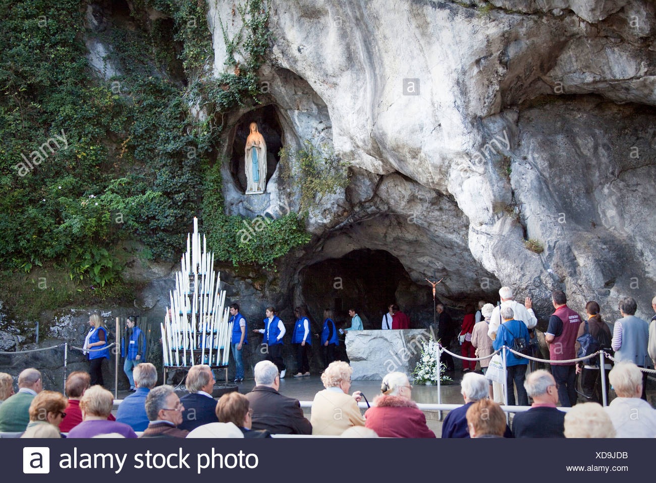 France, Europe, Lourdes, Pyrenees, place of pilgrimage, France, Europe, Lourdes, grotto, believers, creditors, religion - Stock Image