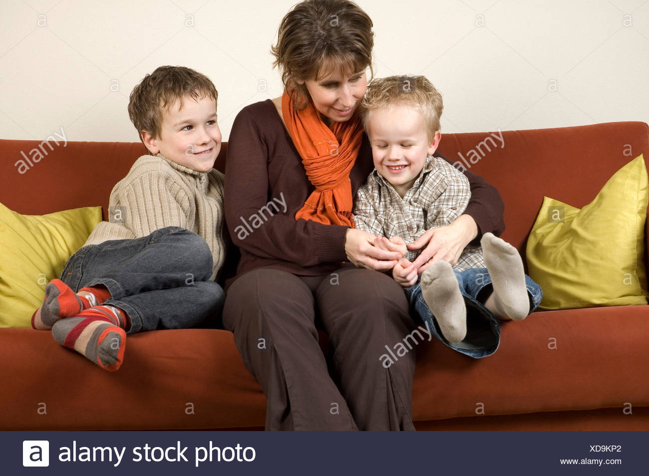 Mother And Two Sons 5 - Stock Image