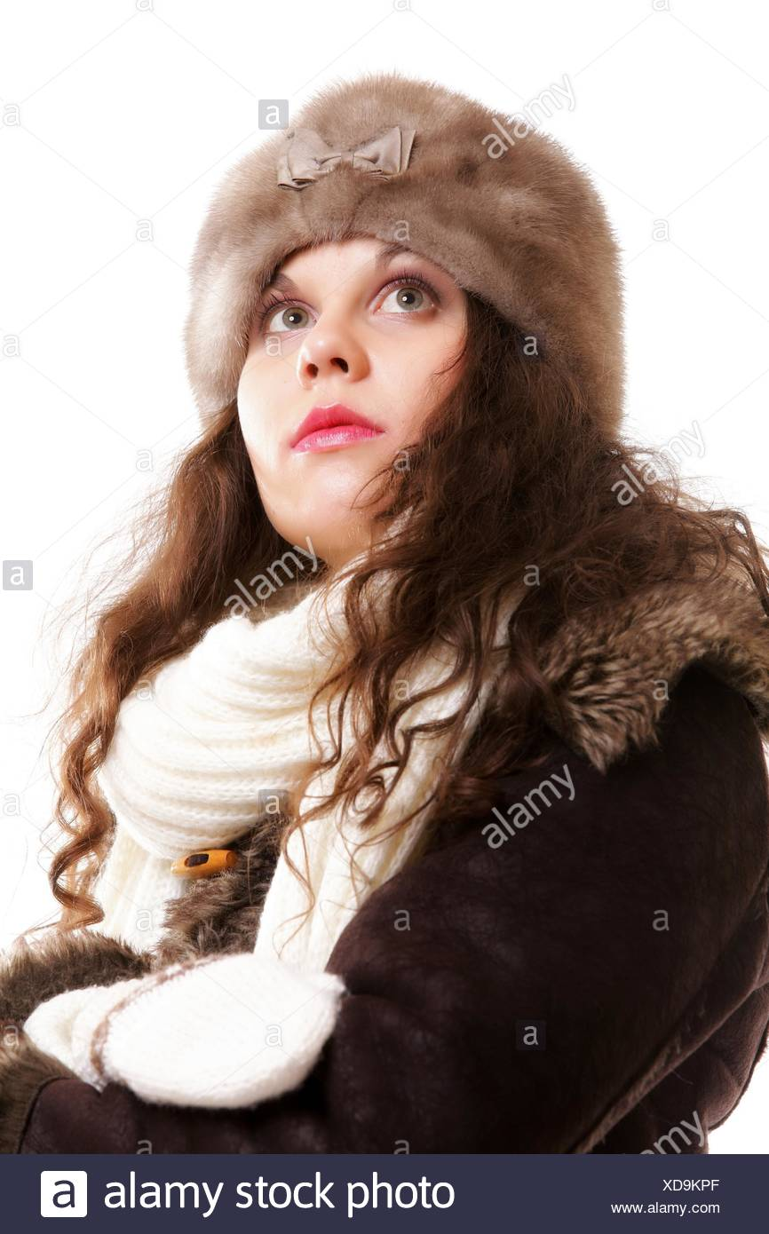 Winter Fashion Portrait Beautiful Woman In Warm Clothing In
