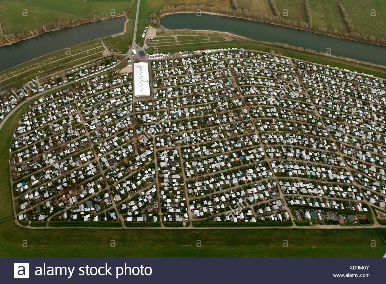 Aerial view, large ground camping, Grav-Insel island, Rhine river, Wesel, Niederrhein region, North Rhine-Westphalia - Stock Image