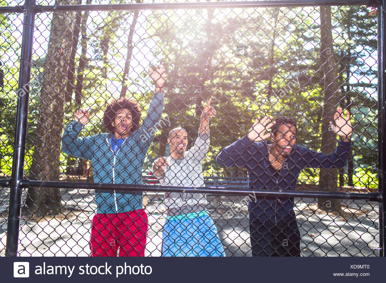 Young men by wire fence in park - Stock Image