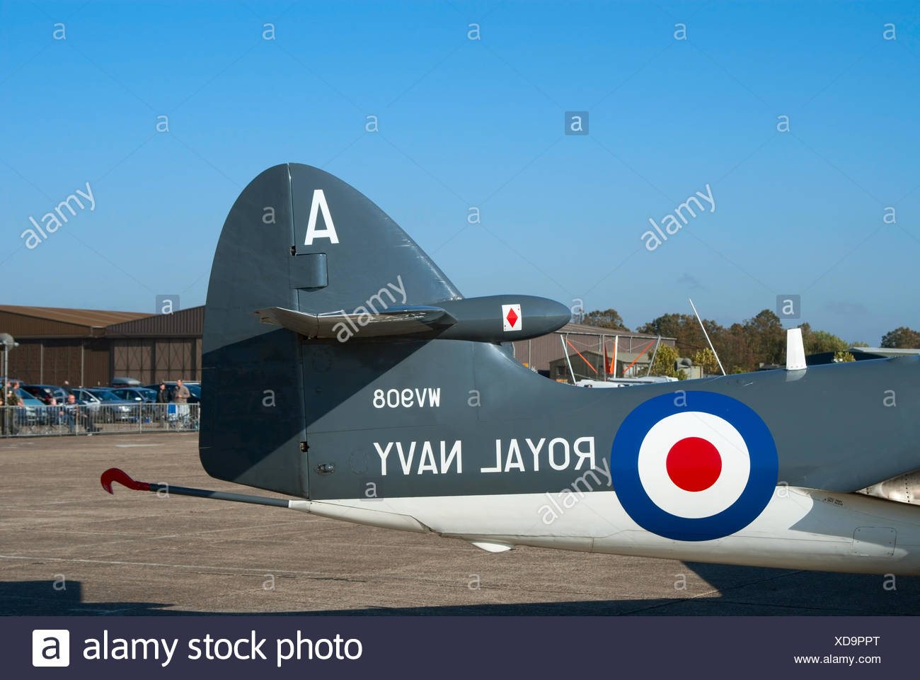 Tail of the Hawker Sea Hawk jet - Stock Image