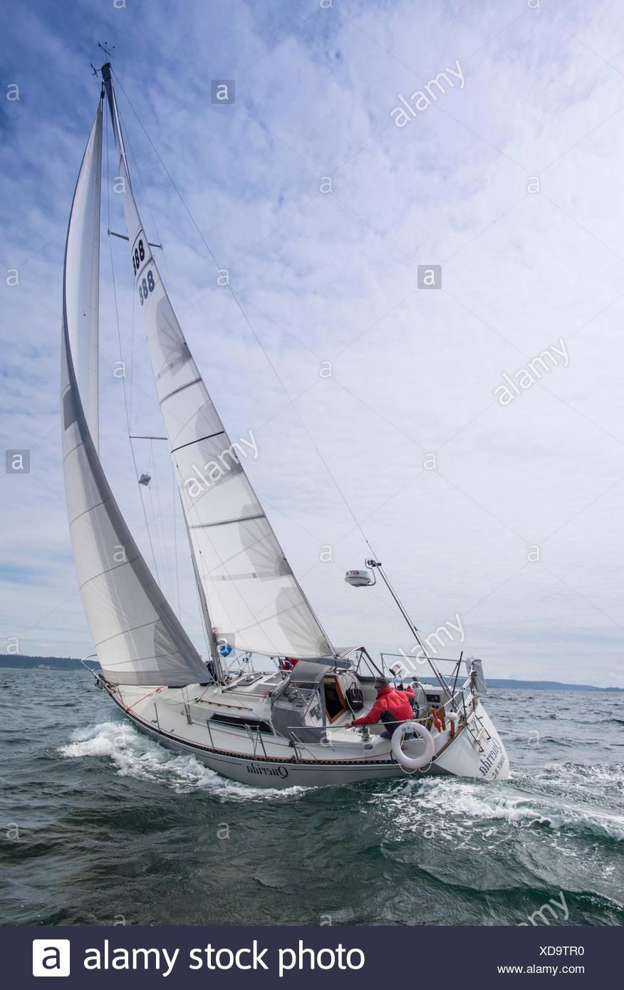 Sailboat racing, Vancouver Island, British Columbia, Canada - Stock Image