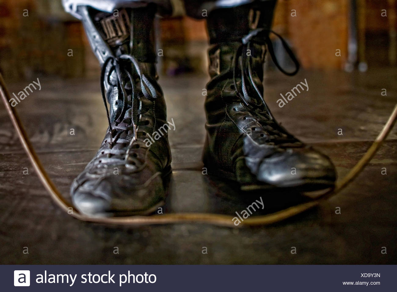 USA, Colorado, Mesa County, Grand Junction, Boxers shoe detail with jump rope - Stock Image
