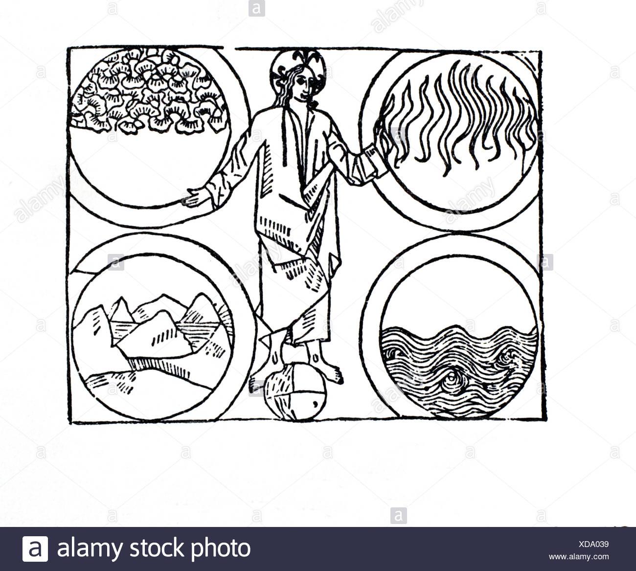 The Creator, master of Elements. De proprietatibus rerum (On the Properties of Things) by Bartholomaeus Anglicus. Lyon, 1491. - Stock Image