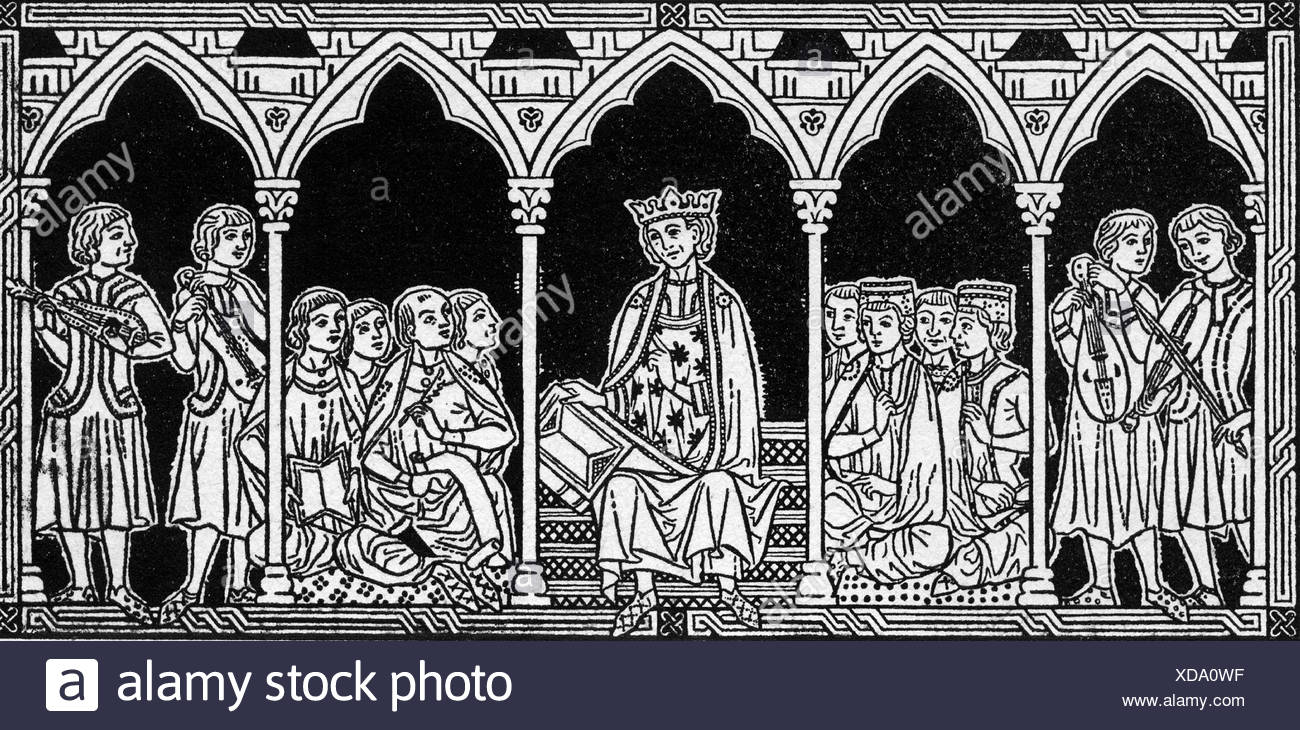 Alfonso X of Castile, 26.11.1221 - 4.4.1284, King of Castile,  Leon and Galicia from 1252, drawing, 19th century, after fresco, Additional-Rights-Clearances-NA - Stock Image