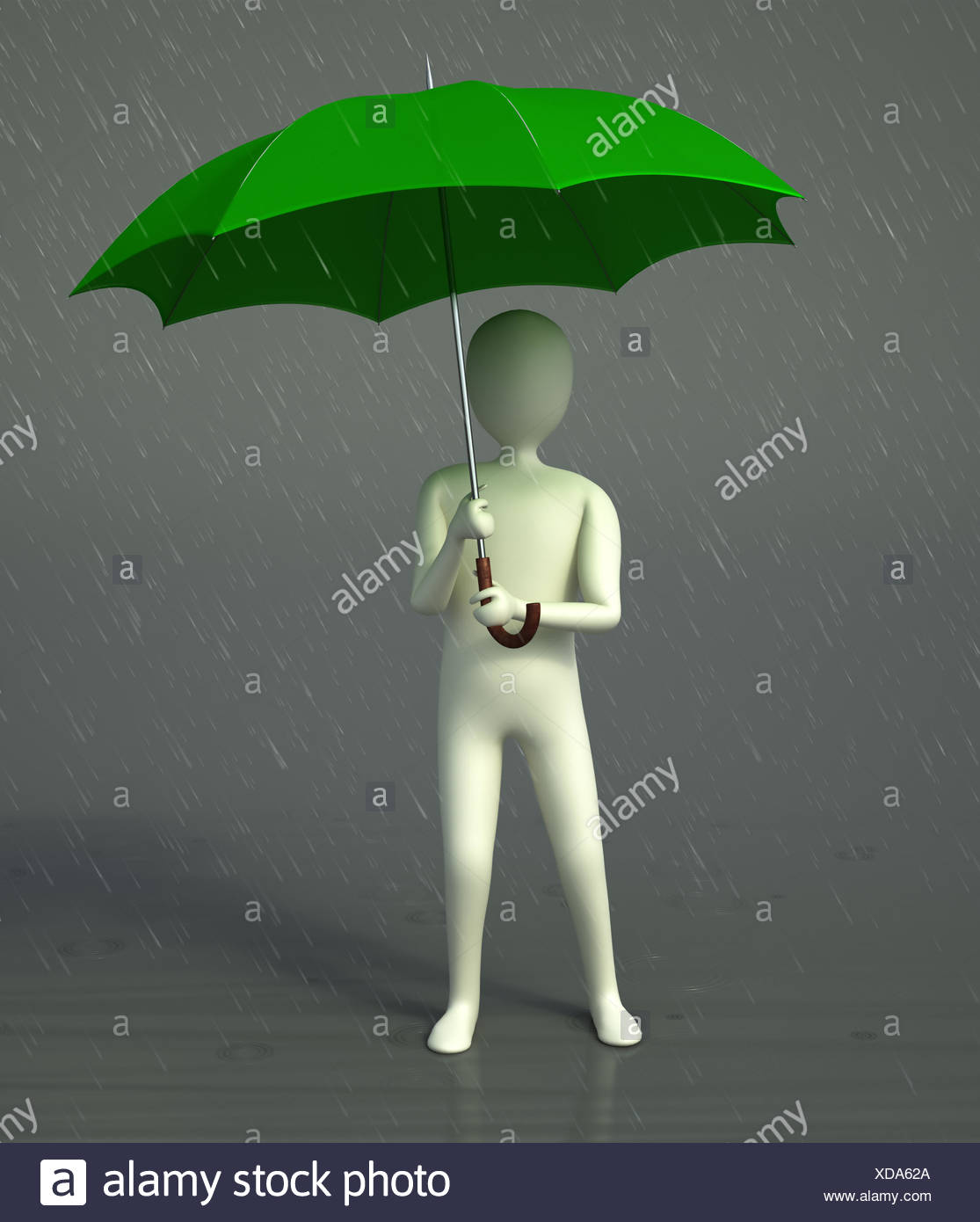 CG character holding an umbrella standing in a rain - Stock Image