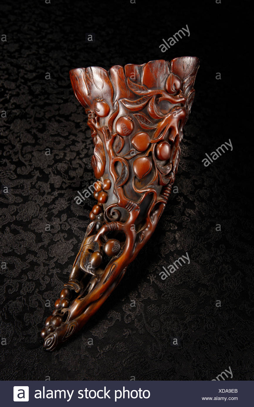 Rhino horn cup carved grape fruit regrettable Stock Photo