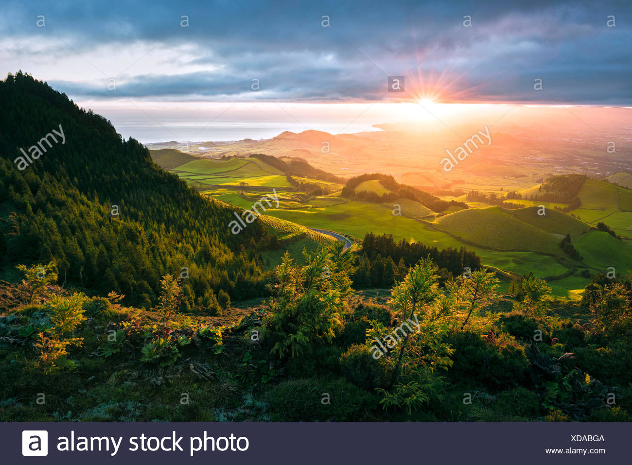 View the Pico Carvao, Sao Miguel, the Azores, Portugal - Stock Image
