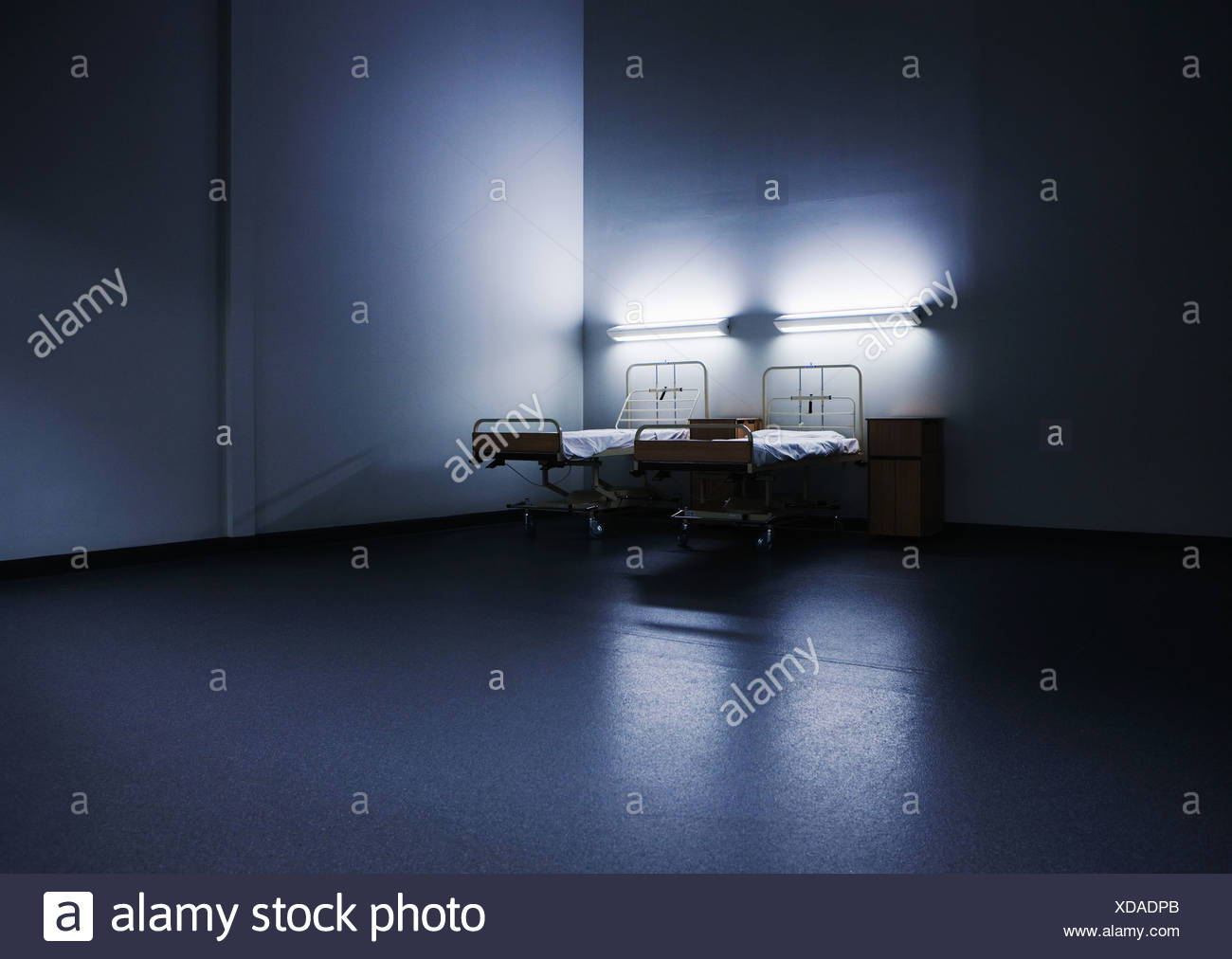 Two empty hospital beds - Stock Image
