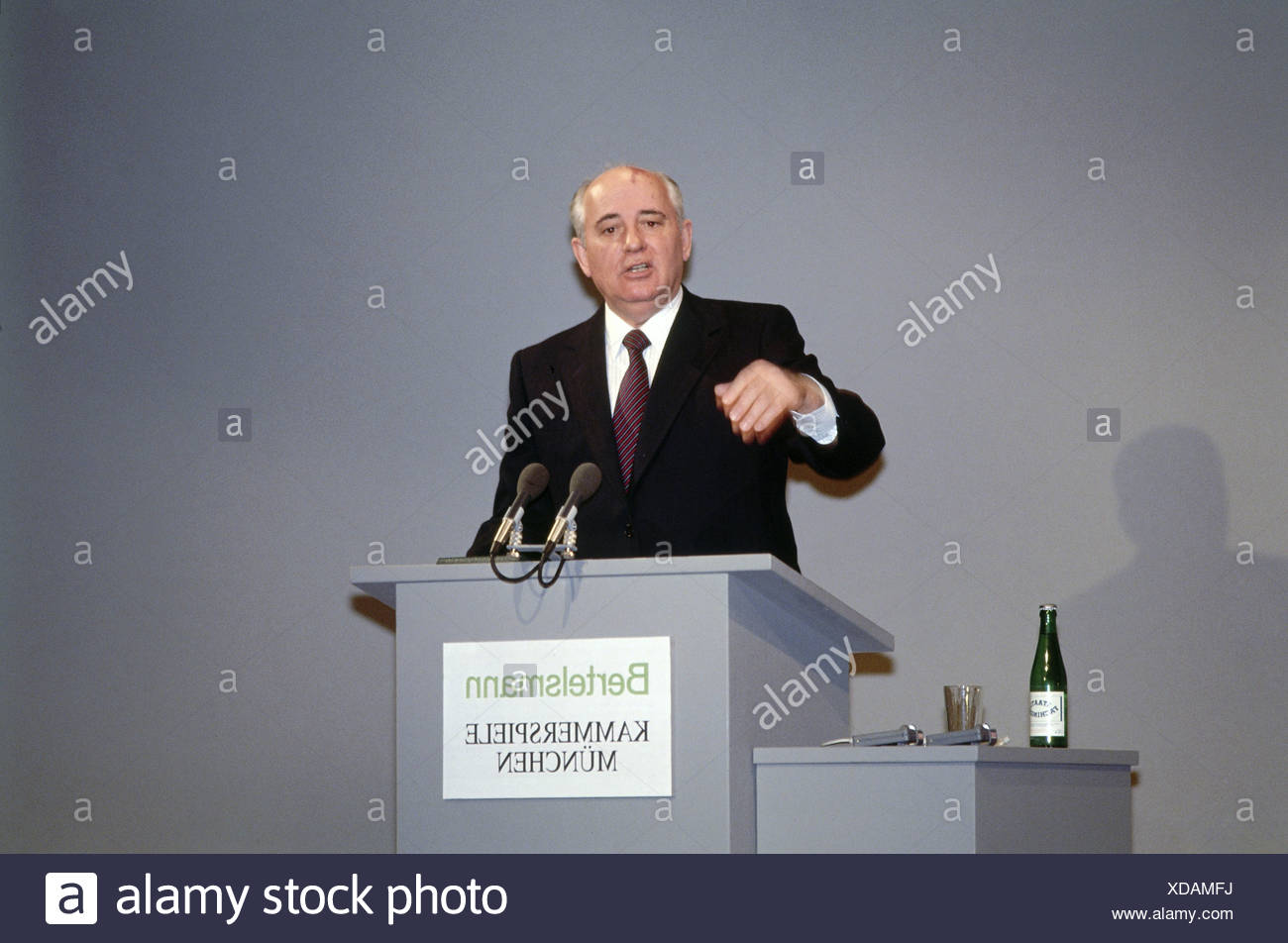 Mikhail Gorbachev, * 2.3.1931, Soviet politician (CPSU), half length, giving a speech, during a visit to Munich, Germany, 6.3.1992, Additional-Rights-Clearances-NA - Stock Image