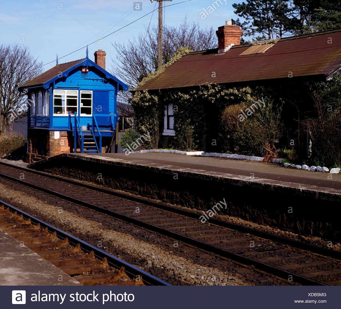 Malahide, Co Dublin, Ireland; Signal Box At A Railway Station - Stock Image