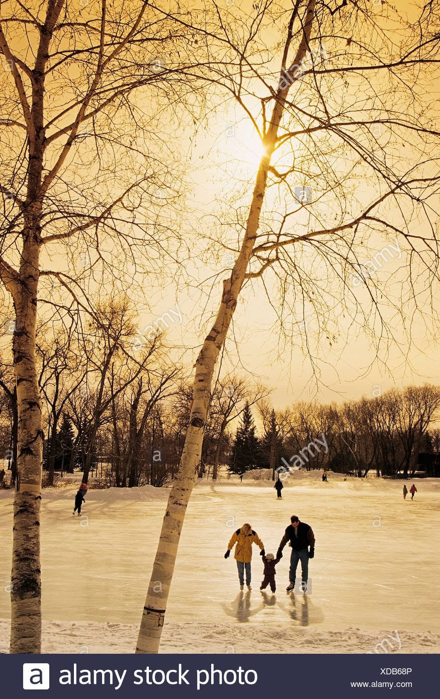 Mother, father and child skating at St. Vital Park, Winnipeg, Manitoba, Canada - Stock Image