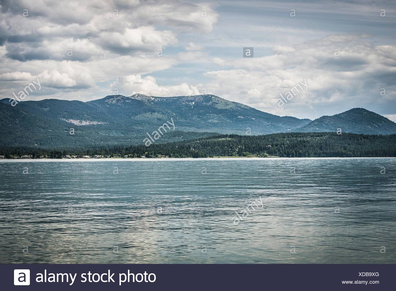 View of lake and mountain, Sandpoint, Idaho, USA - Stock Image