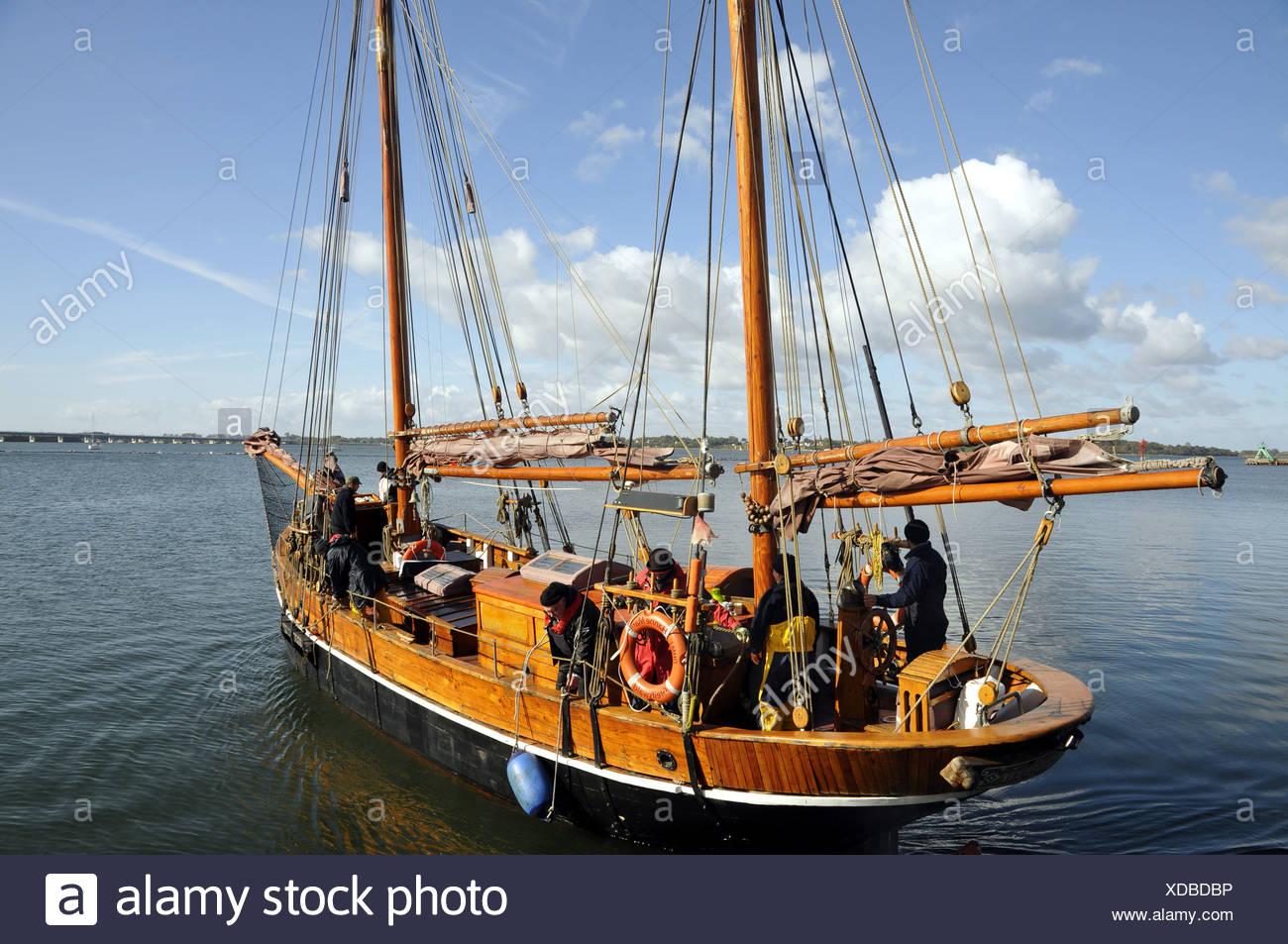 old sailing boat, Germany, Mecklenburg-Western Pomerania, Stralsund - Stock Image