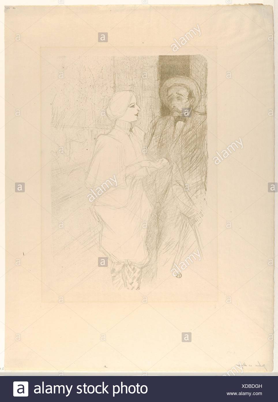 Léonie Yahne and Henry Mayer, in L'Age Difficile. Artist: Henri de Toulouse-Lautrec (French, Albi 1864-1901 Saint-André-du-Bois); Publisher: Edouard - Stock Image