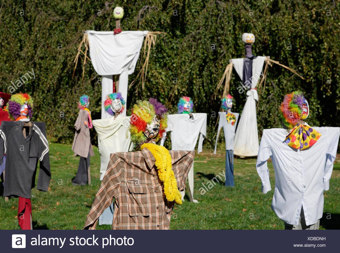 Scarecrow competition, Tarrytown, New York, USA - Stock Image