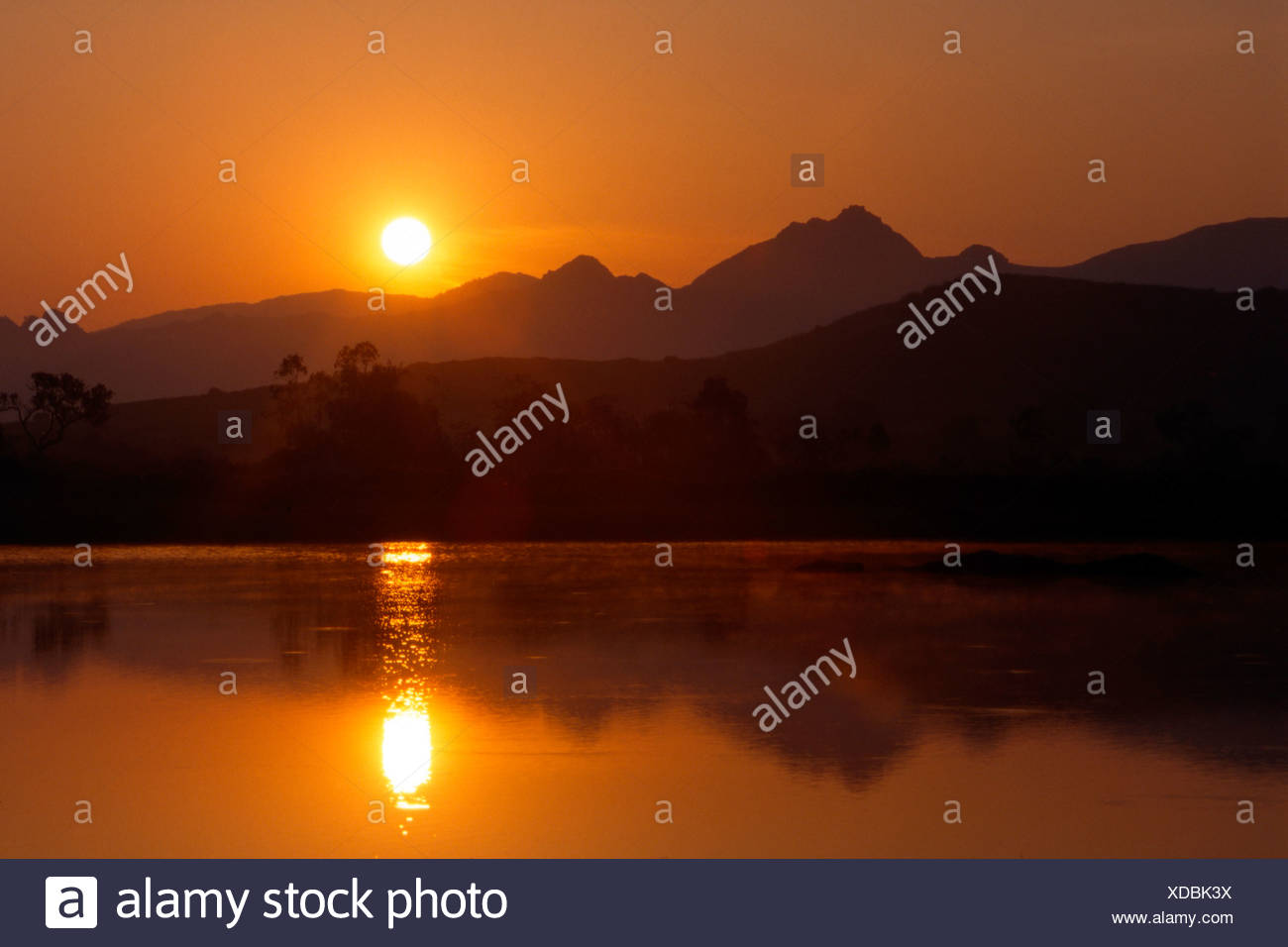 Sunrise over the Karwendel Range, Tyrol, Austria, Europe Stock Photo