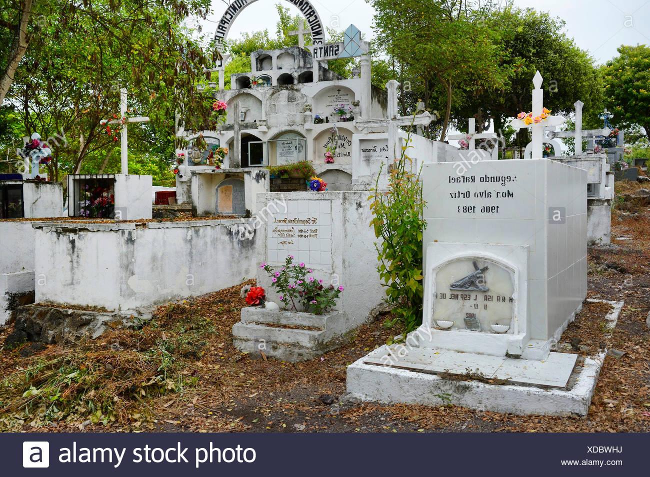 Graeber auf einem landestypischen Friedhof, Ecuador, Galapagos-Inseln, Santa Cruz | graves on a country-specific cemetery, Ecuad - Stock Image