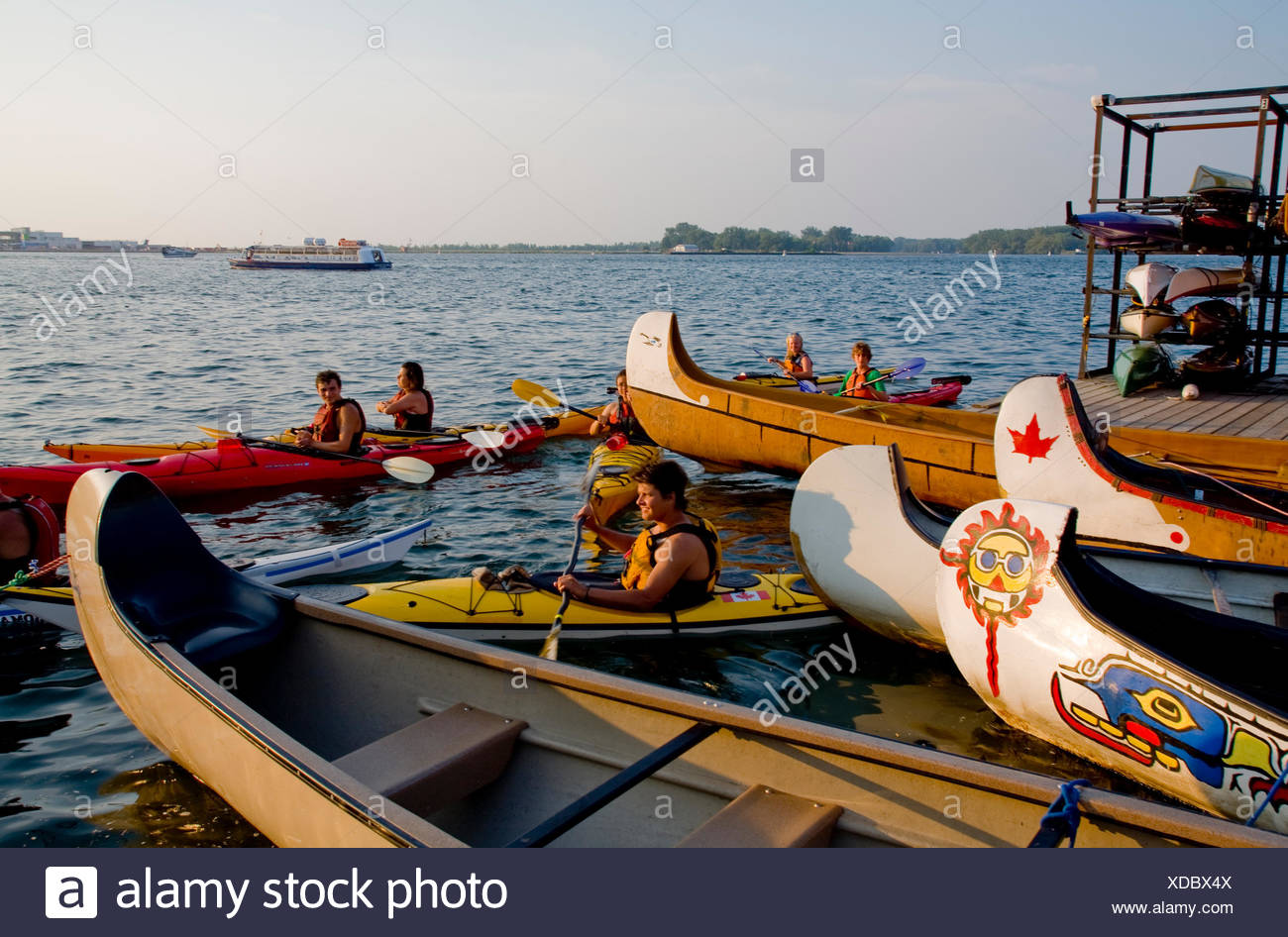 Boaters at Harbourfront Kayak Centre in Toronto. - Stock Image