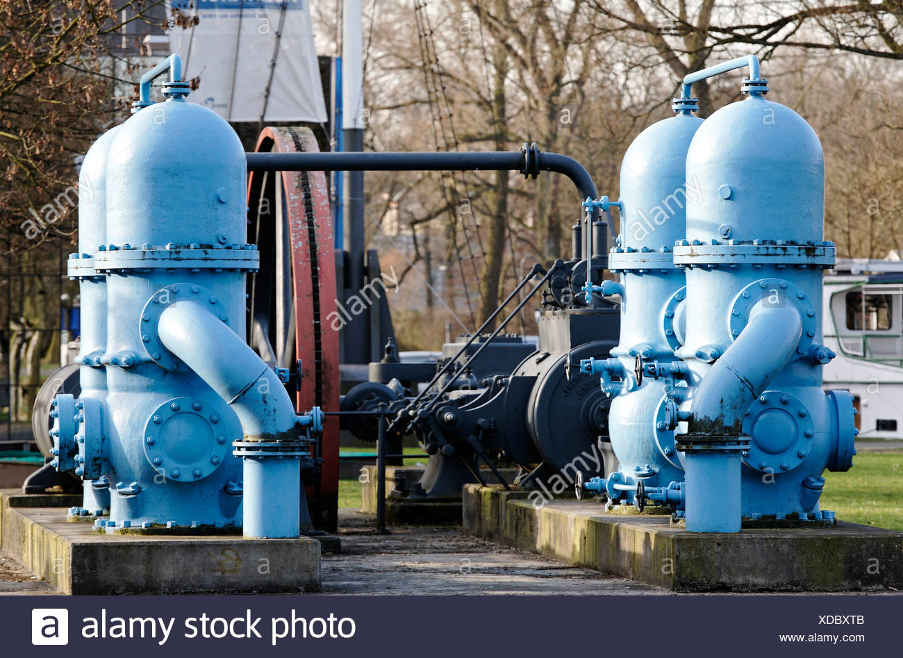 Twin piston pumps of a historic steam engine used for the advancement of drinking water, exhibit in front of the hydropower pla - Stock Image