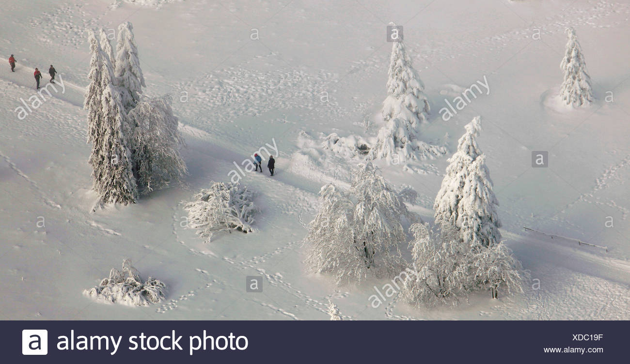 Aerial view, Mt. Kahler Asten, walkers, snow, winter, Winterberg, North Rhine-Westphalia, Germany, Europe Stock Photo