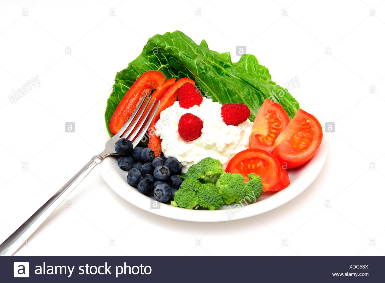 Berry And Cottage Cheese Salad - Stock Image