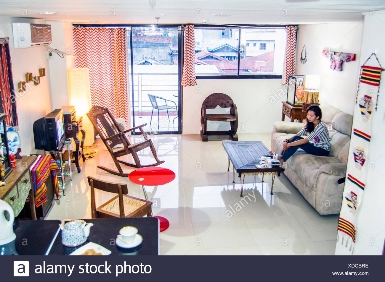Living Room Interior With Antique And Modern Furnishings And Decor Downtown Cebu Philippines Stock Photo Alamy