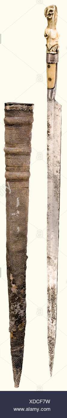 A long knife from the possession of the Archbishop Wolf Dietrich von Raitenau, German, end of the 16th century Slender single-edged blade with slight ridges (somewhat pitted) on both sides of the blade. Horn grip scales. Narrow silver ferrule with an ivory pommel carved in the shape of a woman bust (head incomplete). The wooden scabbard is covered with sharkskin and has a silver plated locket. Length 42 cm. According to tradition, it was found under the windowsill of the cell in which the Prince Bishop Wolfdietrich von Raitenau was held prisoner at the Werfen F, Additional-Rights-Clearances-NA - Stock Image