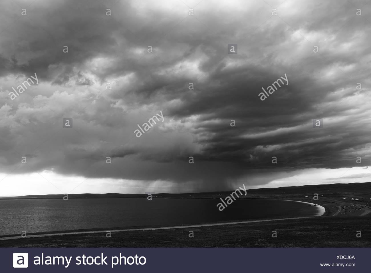 rain over the lake ogii mongolia - Stock Image